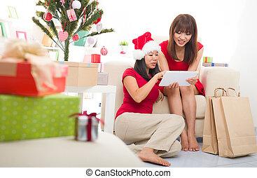 asian christmas friends