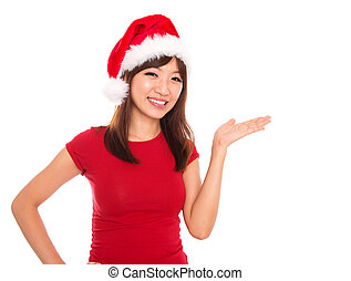 Asian Christmas woman presenting