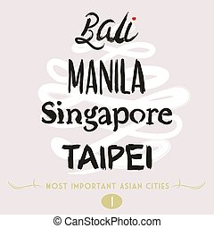 Asian Cities Set- Bali, Manila, Tai