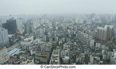 Asian city aerial view with small poor building and...