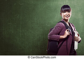 Asian college girl smiling