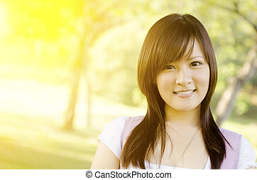 Asian college girl student portrait