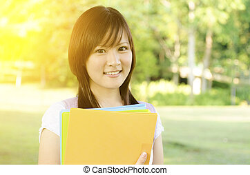 Asian college girl student