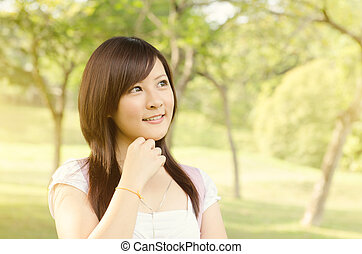 Asian college girl student thinking
