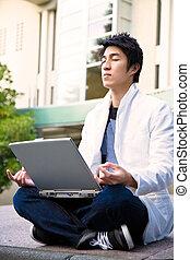 Asian college student meditation