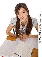 Asian college student preparing for math exam