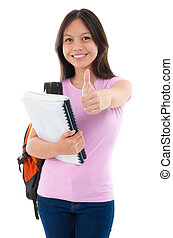 Asian college student thumb up standing isolated on white
