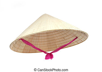 Asian Conical Hat - Asian conical hat with pink tie,...