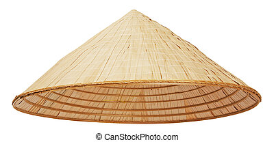 Asian conical hat isolated on white