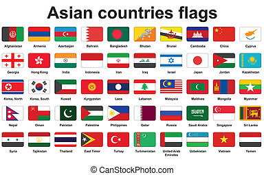 Asian countries flags icons