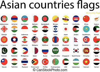 Asian countries flags