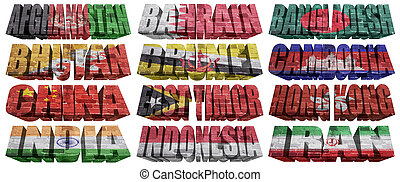Asian countries (From A to I) flag words