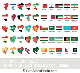 Asian countries set, hearts and flags, part 1