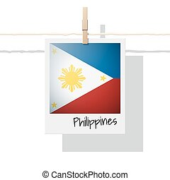 Asian country flag collection with photo of Philippines flag...