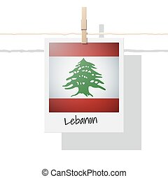 Asian country flag collection with photo of Lebanon flag , vector , illustration