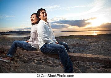 Asian couple - A portrait of an asian couple having fun...