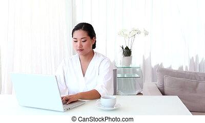 Asian couple spending the morning t