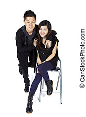 Asian couple with happy face