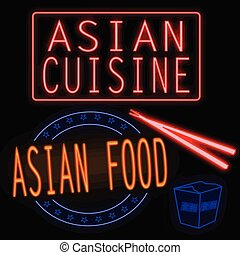 Asian cuisine and food glowing neon signs on black...