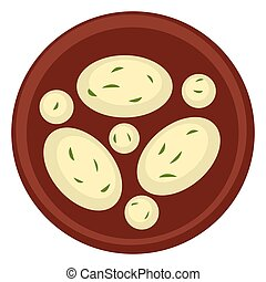 Asian cuisine, cheese or rice with dill or parsley - Cuisine...