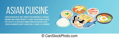 Asian cuisine concept banner, isometric style - Asian...