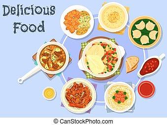 Asian cuisine dinner with dessert icon design - Asian...