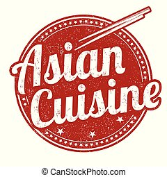 Asian cuisine grunge rubber stamp