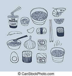 Asian cuisine, hand drawn doodles style vector icons set.