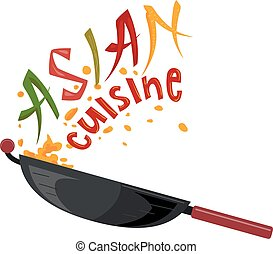 Asian Cuisine Lettering Illustration - Illustration of a Wok...