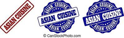ASIAN CUISINE Scratched Stamp Seals - ASIAN CUISINE grunge...