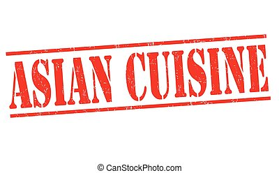 Asian cuisine sign or stamp white background, vector...