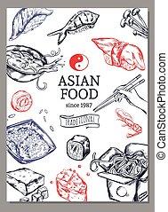 Asian Cuisine Sketch Poster - Asian cuisine sketch poster...