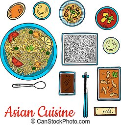 Asian cuisine sketch with seafood and rice dishes - Colorful...