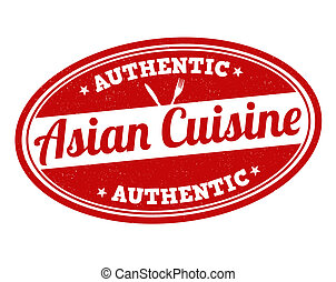 Asian cuisine stamp - Asian cuisine grunge rubber stamp on...