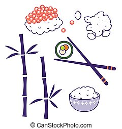 Asian cuisine traditional food culture vector objects....
