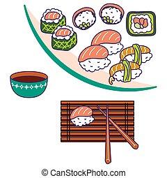 Asian cuisine vector illustration. Sushi rolls food on...