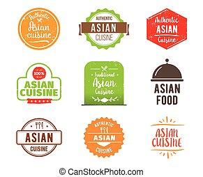 Asian cuisine vector label - Asian cuisine, authentic...