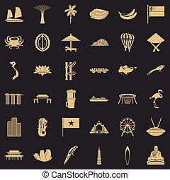Asian culture icons set, simple style