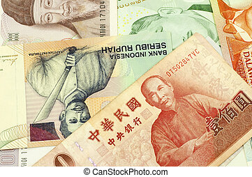 Asian Currencies. - Currencies of Singapore, Taiwan, Korea,...