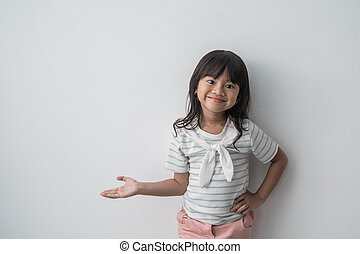 asian cute little girl with present something
