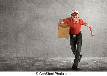 Asian delivery courier holding package running