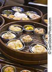 Asian dim sum in bamboo steamer - Traditional dim sum in ...