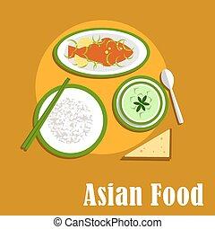 Asian dinner dishes of thai cuisine - Asian thai cuisine...