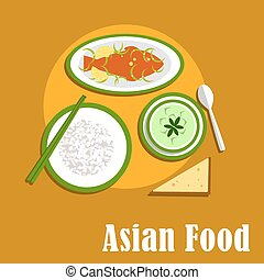 Asian dinner dishes of thai cuisine - Asian thai cuisine...