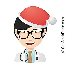 Asian doctor avatar wearing a santa hat