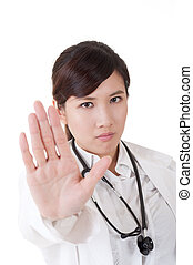 "no - Asian doctor give you ""no"" gesture, closeup portrait."