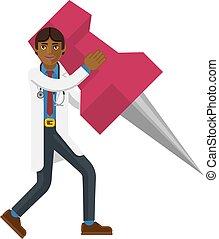 An Asian doctor cartoon character mascot man holding a big thumb tack map drawing pin business concept