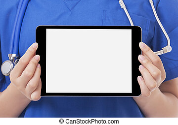 Asian doctor or nurse holding tablet computer