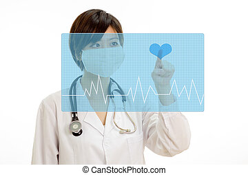 Asian doctor pressing heart button on virtual interface