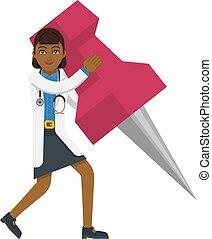 An Asian doctor cartoon character mascot woman holding a big thumb tack map drawing pin concept